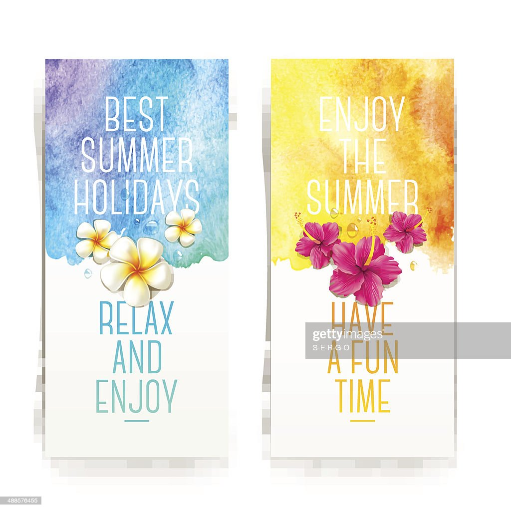 Summer holidays watercolor banners with tropical flowers and summer greetings