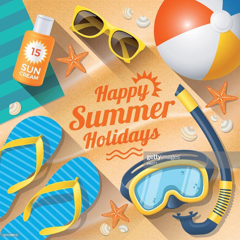 Verano playa verano con accesorios de días festivos : Ilustración de stock