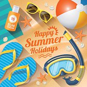 Summer Holidays with beach summer accessories