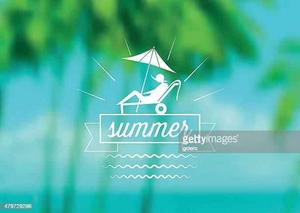 summer icon on blurred palm beach background