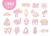 Summer icon set hand drawn. line drawing. vector illustration. and doodle art.