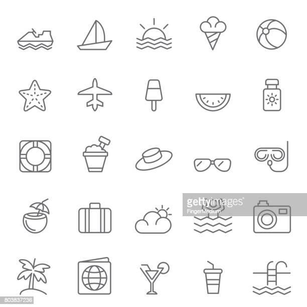 ilustrações, clipart, desenhos animados e ícones de conjunto de ícones de verão - verão