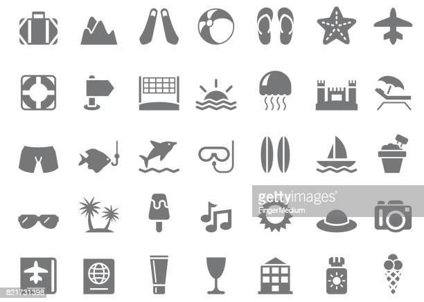 ilustraciones, imágenes clip art, dibujos animados e iconos de stock de conjunto de iconos de verano - vóleibol de playa