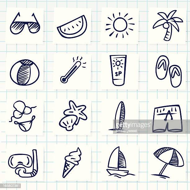summer icon - desk toy stock illustrations, clip art, cartoons, & icons