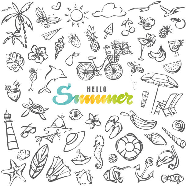 summer icons collection - doodle stock illustrations