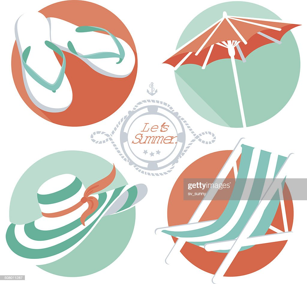 Summer icons: flip floppers, hat, beach umbrella and chair