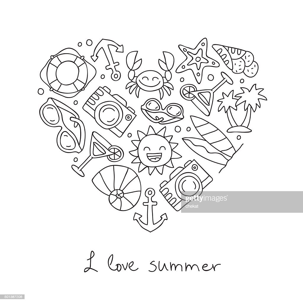 Summer. Icons in the shape of a heart
