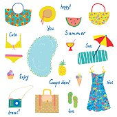 Summer icons set, funny design - for vacations, travel