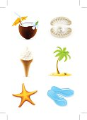 Summer icons, set