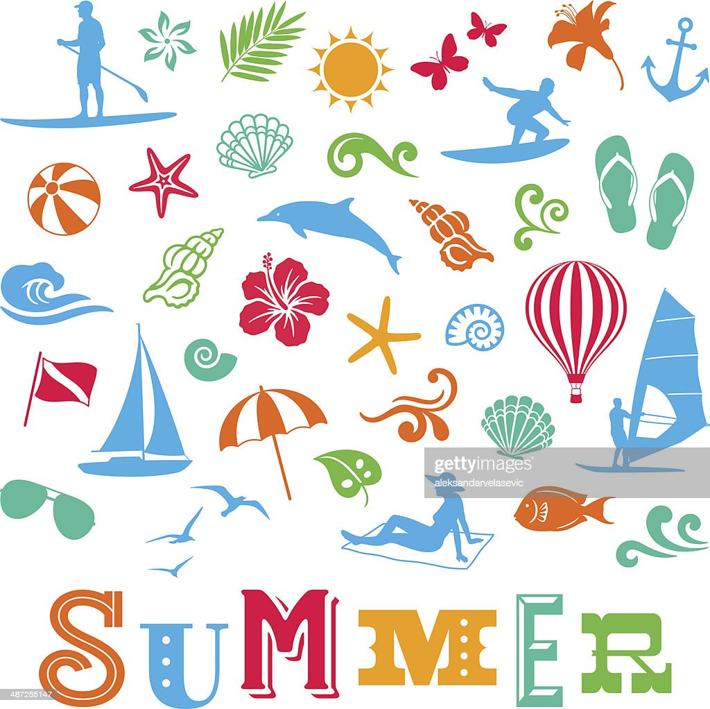 Sommer-Symbole : Stock-Illustration
