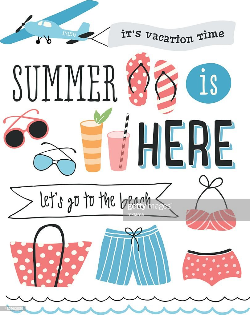 Summer Illustration with Icons