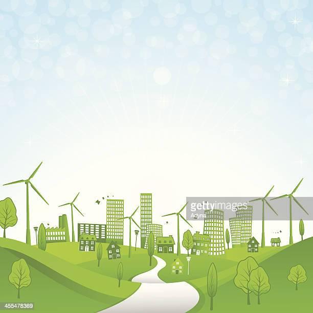 ilustraciones, imágenes clip art, dibujos animados e iconos de stock de verano en la ciudad - energias renovables