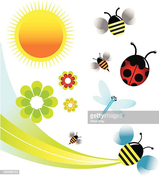 summer insects - bumblebee stock illustrations, clip art, cartoons, & icons