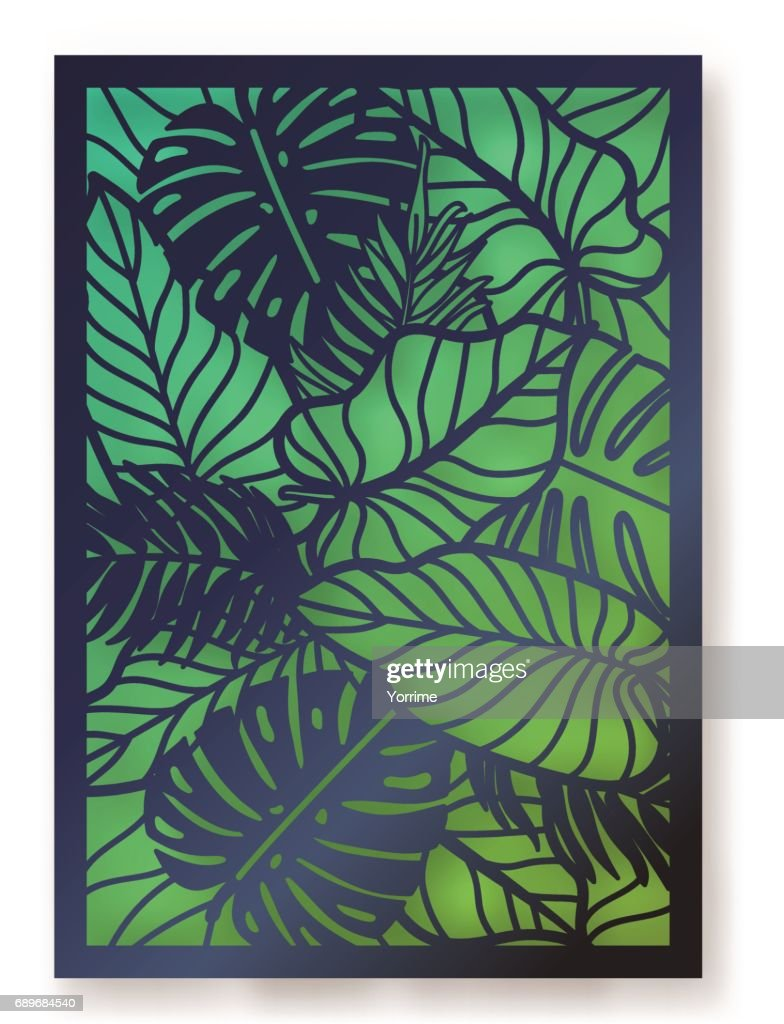 Summer jungle foliage greeting card.
