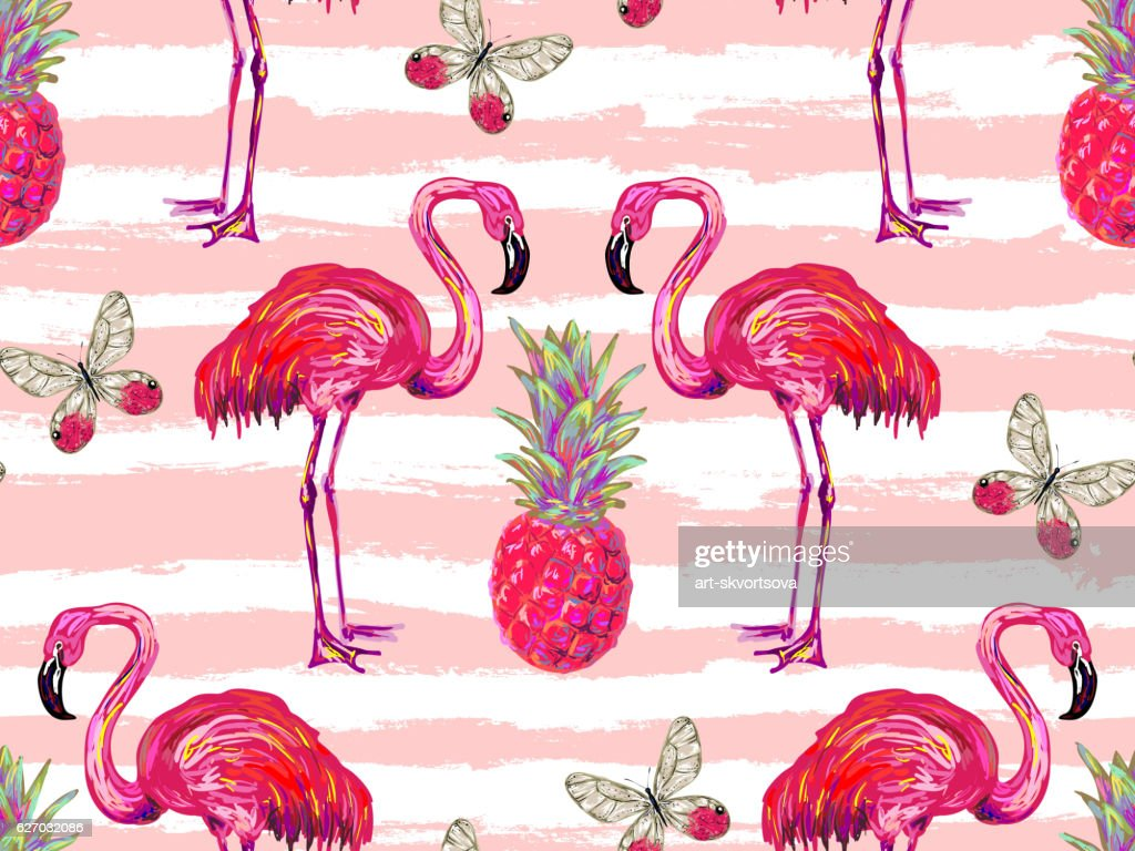 Summer jungle pattern with tropical butterflies, flamingo and pineapple
