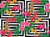 Summer jungle pattern with with flamingo, palm leaves and flowers