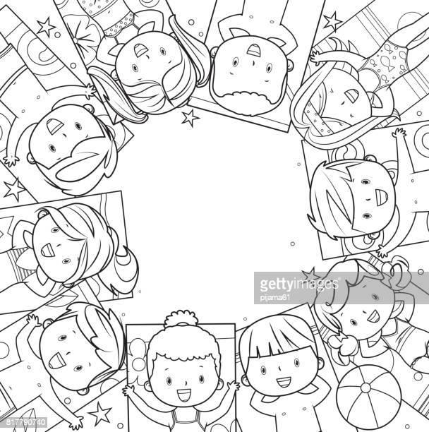Sommer Kinder Frame Strichzeichnungen