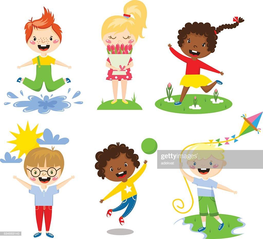 Summer kids vector illustration.