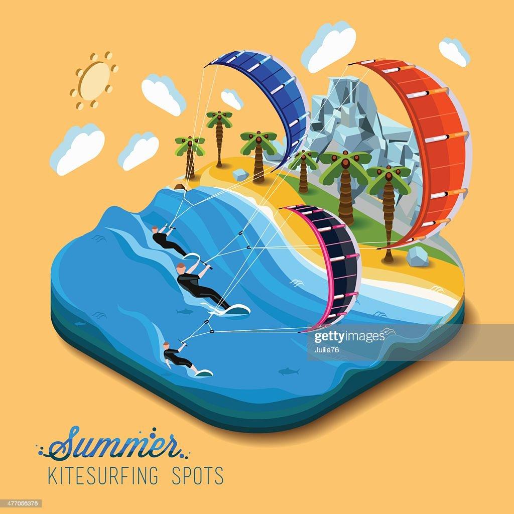Summer kitesurfing sport