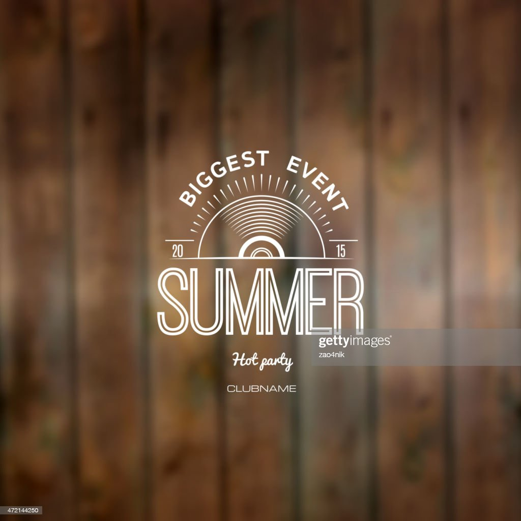 Summer label logo on the background blurred background green