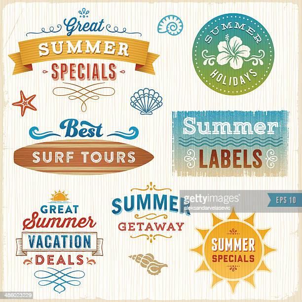 illustrations, cliparts, dessins animés et icônes de étiquettes d'été - planche de surf