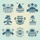 Summer labels. Vector illustrations of tropical logos and badges