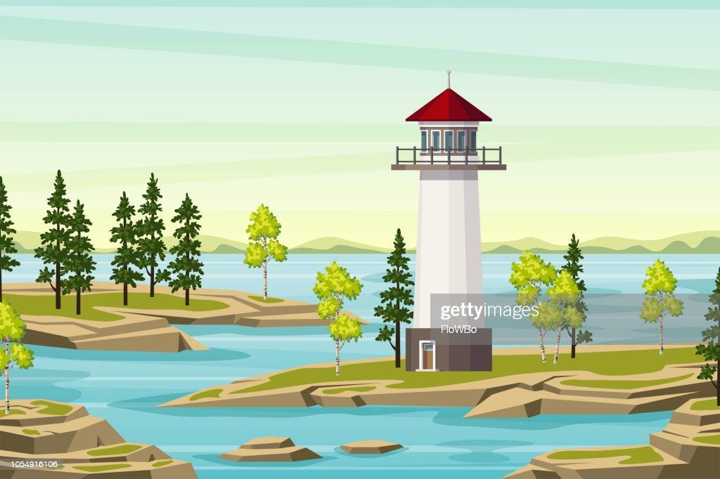 Summer Landsape With Lighthouse