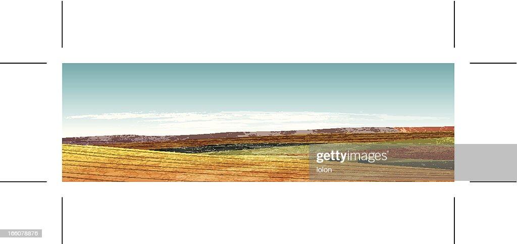 Summer landscape banner with grunge hills
