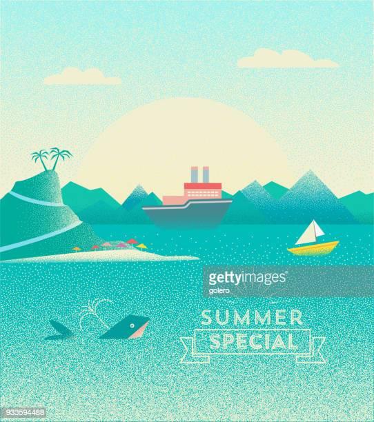 illustrations, cliparts, dessins animés et icônes de illustration de paysage de l'été avec les baleines et les navires sur mer - baleine