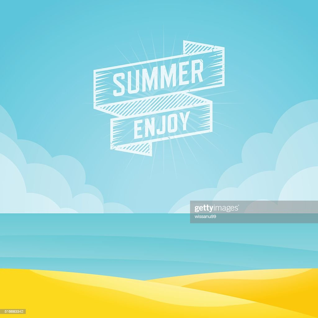 Summer landscape, Seascape background, Vector illustration.