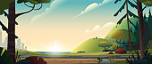 Summer landscape. The road from the city to the forest or countryside. Cinematic view. Cartoon style vector illustration.