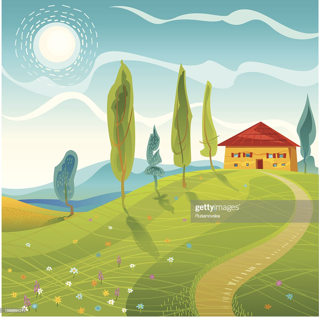 Summer Landscape : Vector Art