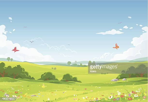 summer landscape - cloudscape stock illustrations, clip art, cartoons, & icons