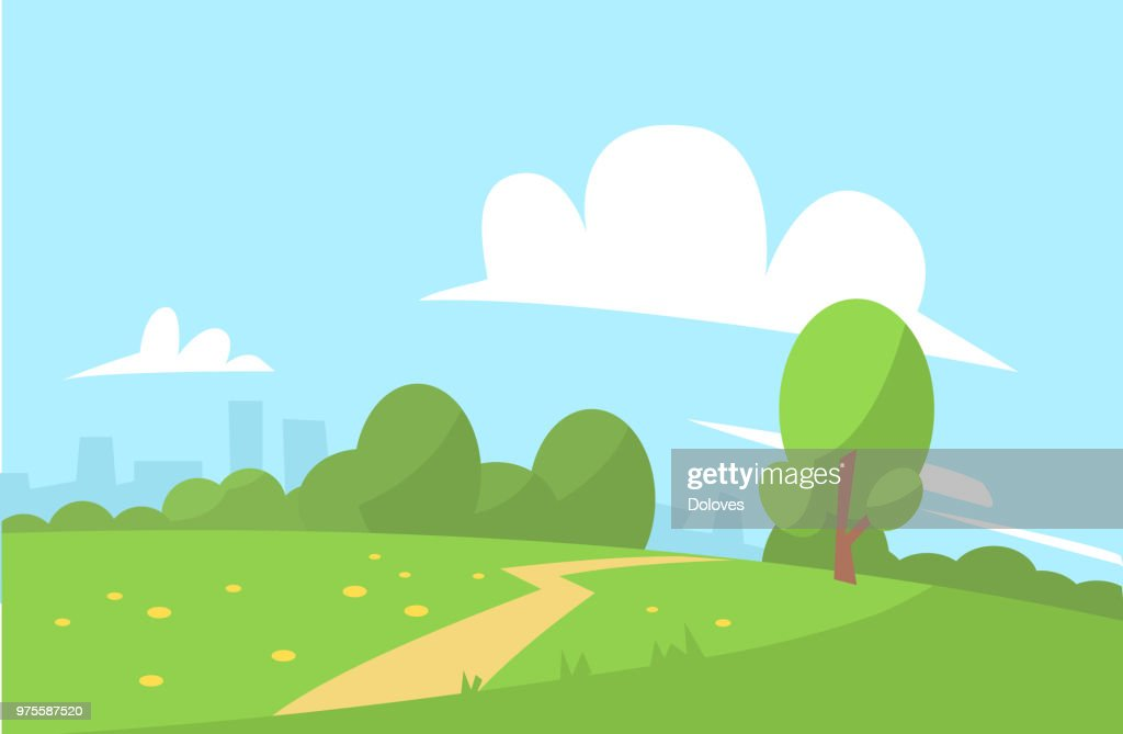 Summer landscape vector illustration cartoon style