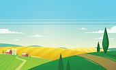 Summer landscape with farmhouse. Vector illustration.