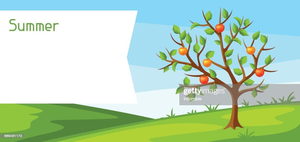 Summer landscape with green tree and apples. Seasonal illustration