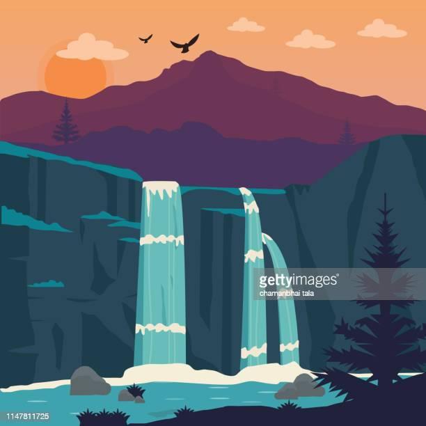 illustrazioni stock, clip art, cartoni animati e icone di tendenza di summer landscape with waterfall, forest and clouds - natura