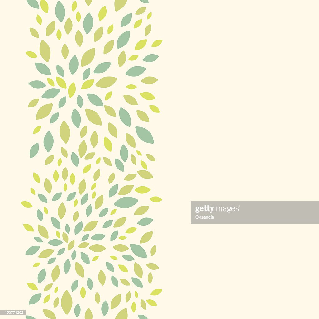 Summer leaves texture vertical seamless pattern