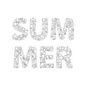 Summer Lettering Made Of Hand Drawn Flowers, Fruits, Leaves, Doo