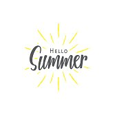 Summer (Hello) lettering typography vector design on white background. Lettering design concept.
