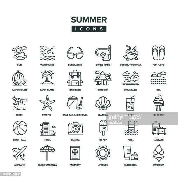 illustrations, cliparts, dessins animés et icônes de ensemble d'icônes summer line - parasol