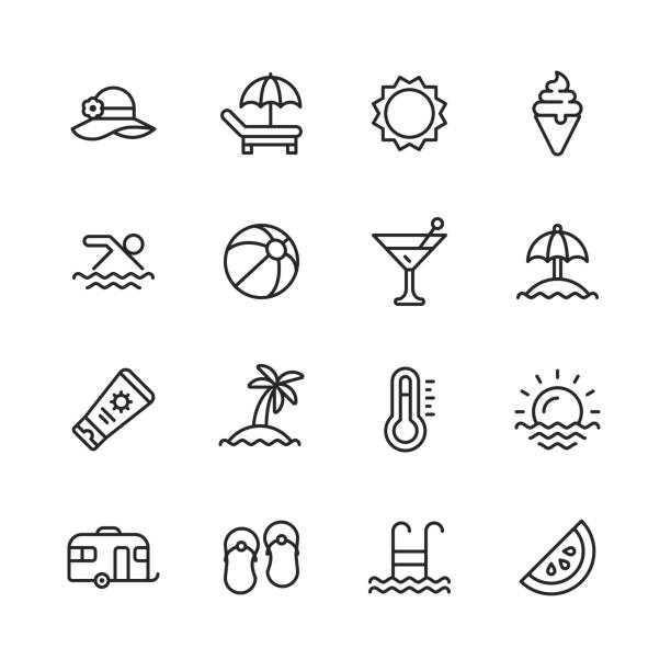 summer line icons. editable stroke. pixel perfect. for mobile and web. contains such icons as summer, beach, party, sunbed, sun, swimming, travel, watermelon, cocktail. - frozen food stock illustrations