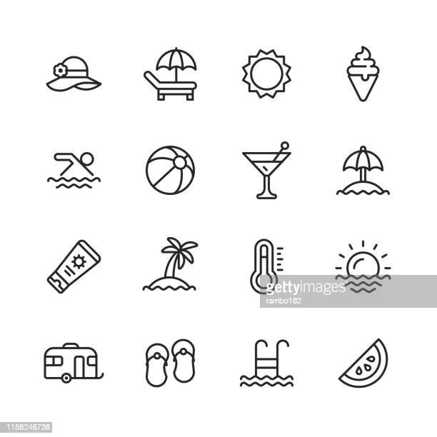 summer line icons. editable stroke. pixel perfect. for mobile and web. contains such icons as summer, beach, party, sunbed, sun, swimming, travel, watermelon, cocktail. - relaxation stock illustrations