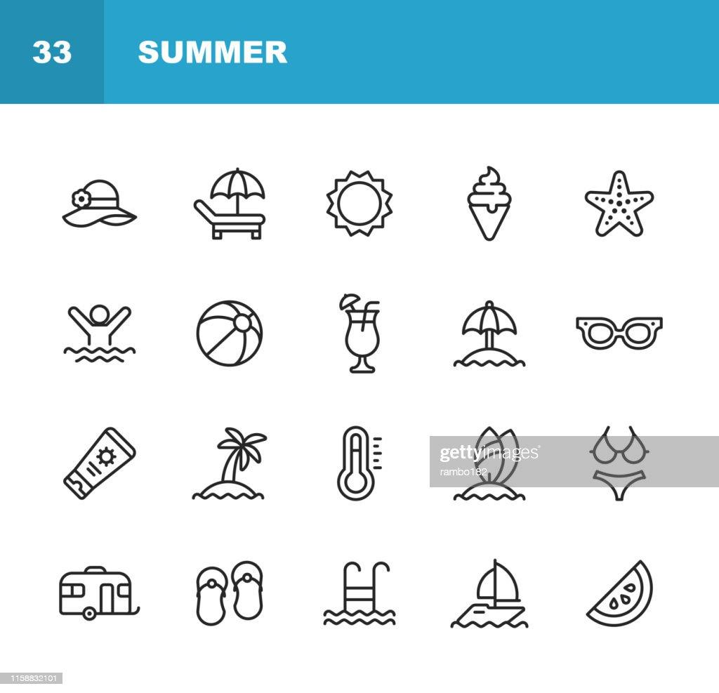 Icônes de ligne d'été. Accident vasculaire cérébral modifiable. Pixel Parfait. Pour Mobile et Web. Contient des icônes telles que Summer, Beach, Party, Sunbed, Sun, Swimming, Travel, Watermelon, Cocktail, Beach Ball, Cruise, Palm Tree. : Illustration