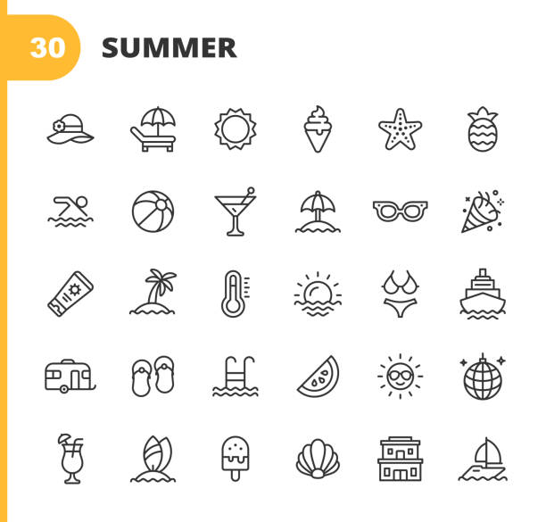 summer line icons. editable stroke. pixel perfect. for mobile and web. contains such icons as summer, beach, party, sunbed, sun, swimming, travel, watermelon, cocktail, beach ball, cruise, palm tree. - frozen food stock illustrations