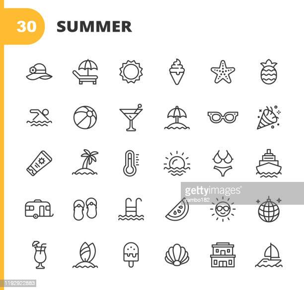 summer line icons. editable stroke. pixel perfect. for mobile and web. contains such icons as summer, beach, party, sunbed, sun, swimming, travel, watermelon, cocktail, beach ball, cruise, palm tree. - summer stock illustrations