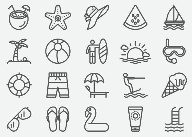 summer line icons - frozen food stock illustrations