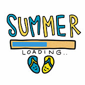 Summer loading and sandal cartoon vector illustration