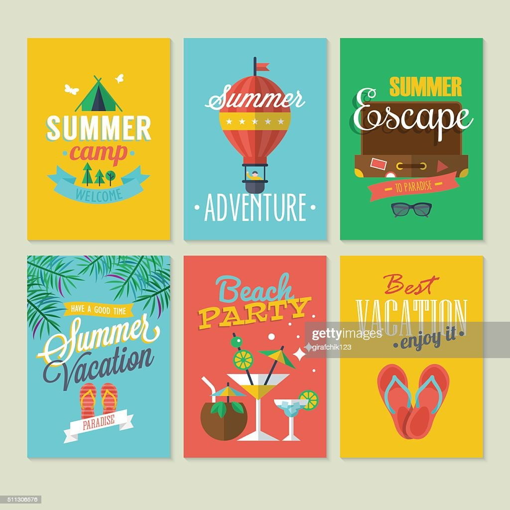 Summer logo and labels design with flat modern icons
