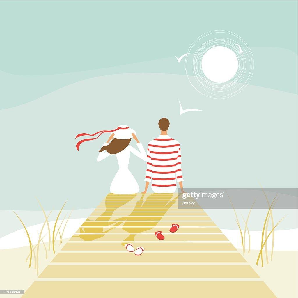 Los amantes de verano en un muelle : Ilustración de stock